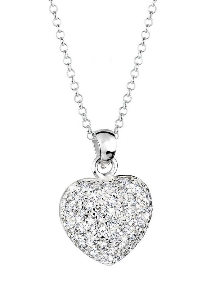 Elli Halskette »Herz Zirkonia 925 Sterling Silber« in Silber