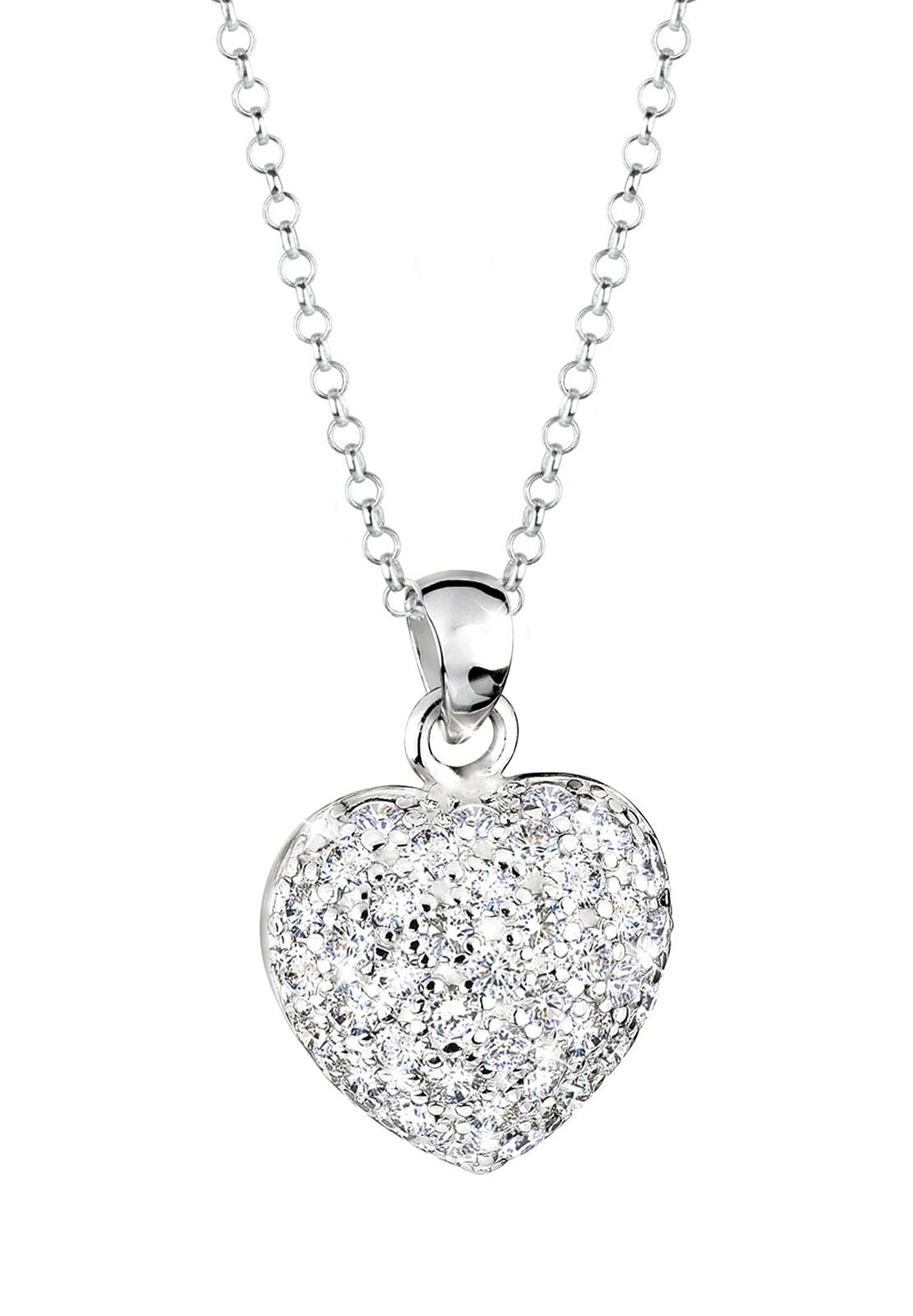 Elli Halskette »Herz Liebe Zirkonia Kristall 925 Sterling Silber«