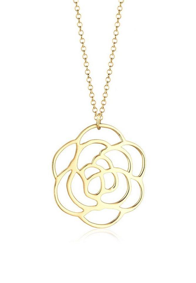 Elli Halskette »Rose 925 Sterling Silber« in Gold