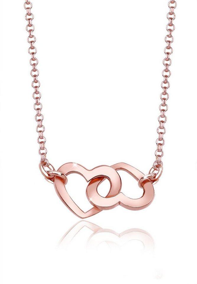 Elli Halskette »Herzen Liebe 925 Sterling Silber« in Rosegold