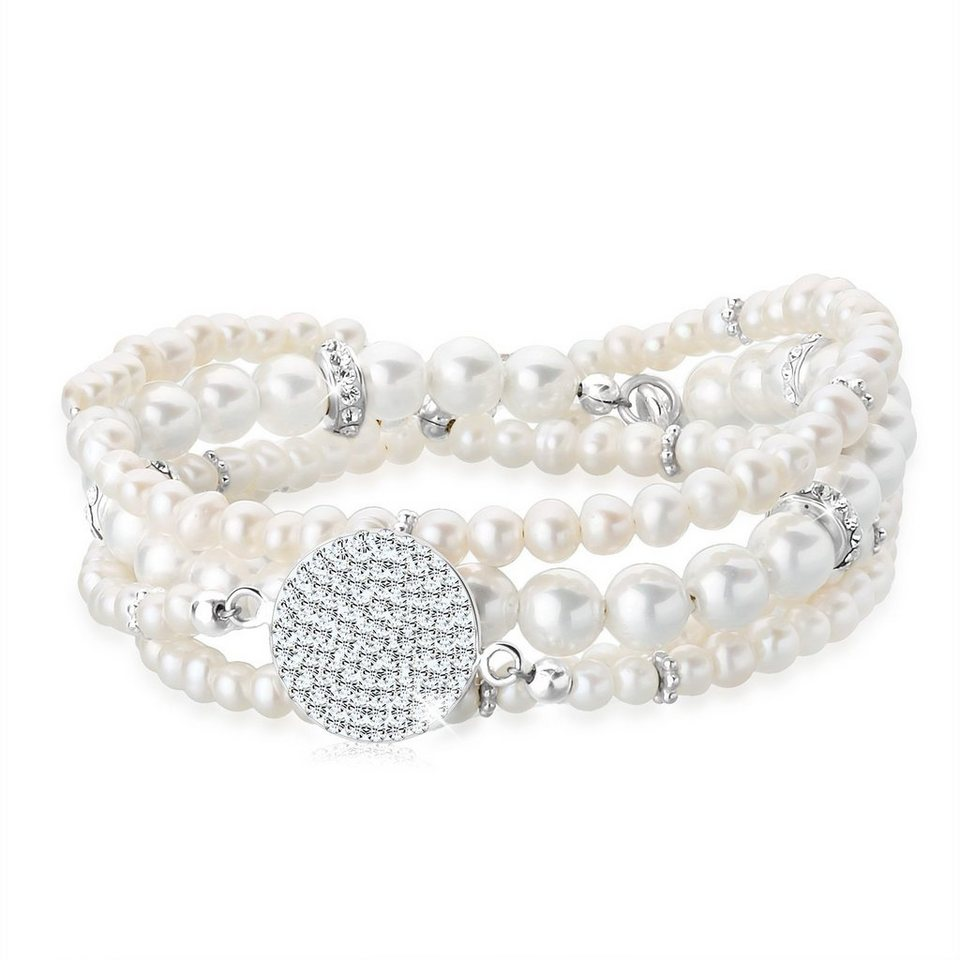 Perlu Set: Armband »Layering Perle Swarovski® Kristalle 925 Silber« 2 tlg. in Weiß