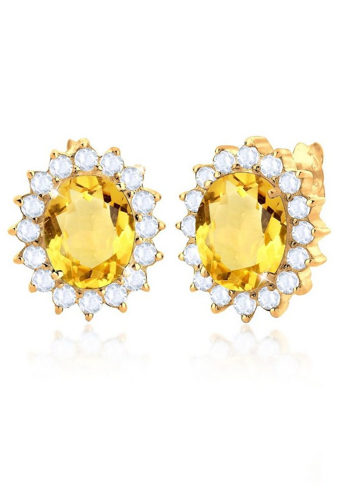Elli Ohrringe »Citrin Topase Elegant Festlich Silber vergoldet« in Gelb