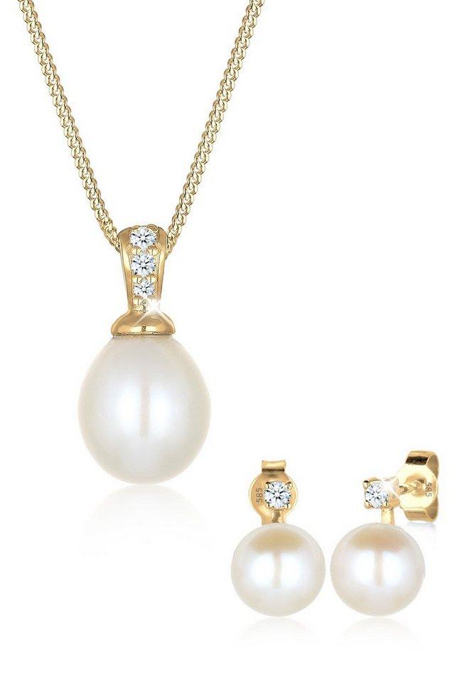 Diamore Set: Schmuckset »585 Gelbgold Diamant Perle« 2 tlg. in Weiß