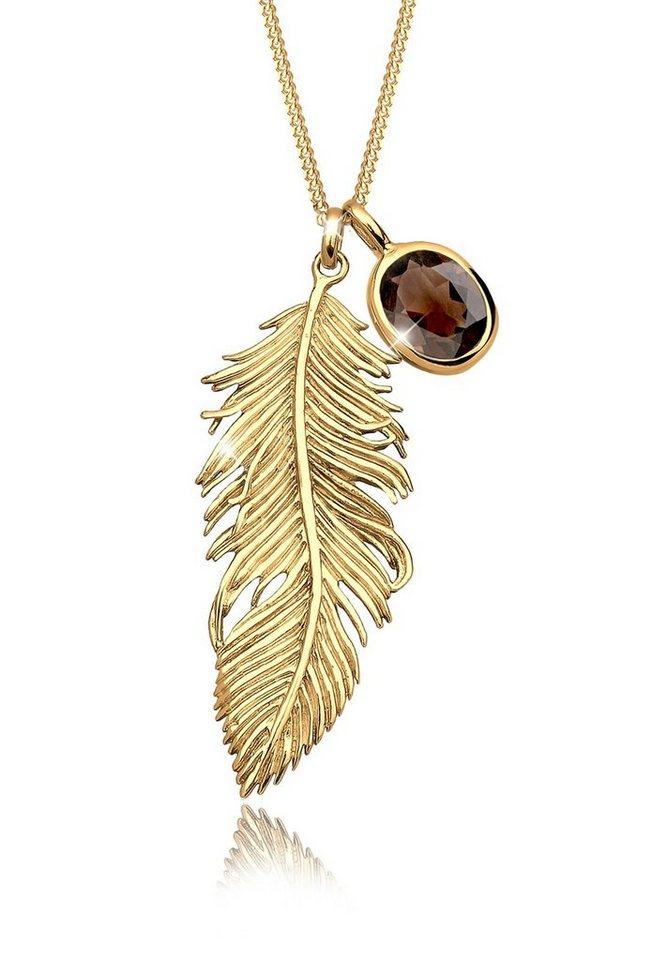 Elli Halskette »Feder Rauchquartz 925 Sterling Silber vergoldet« in Braun