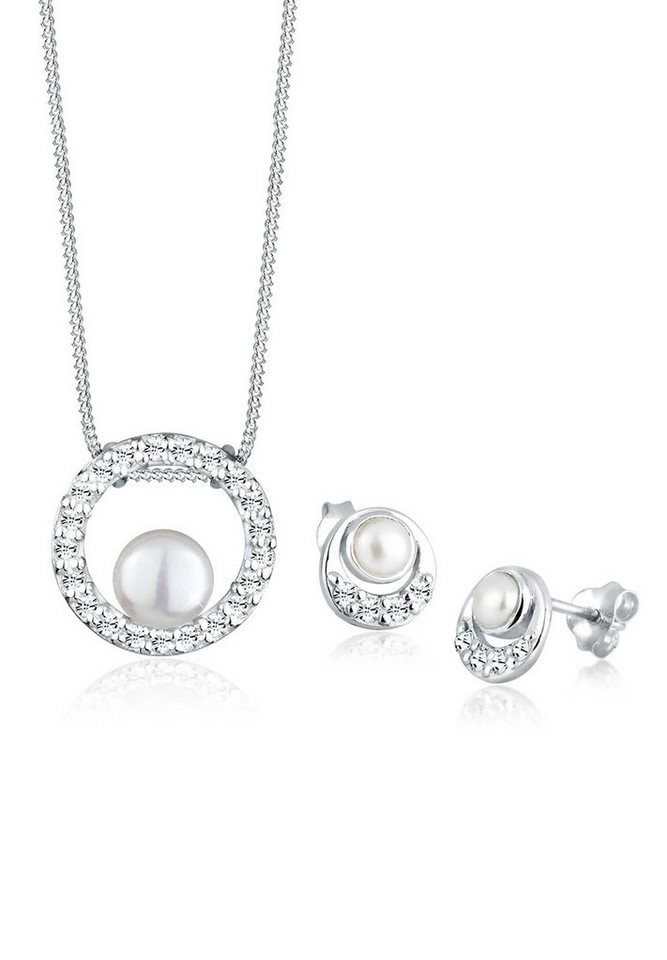 Perlu Set: Schmuckset »Perle Swarovski® Kristall 925 Silber« 2 tlg. in Weiß