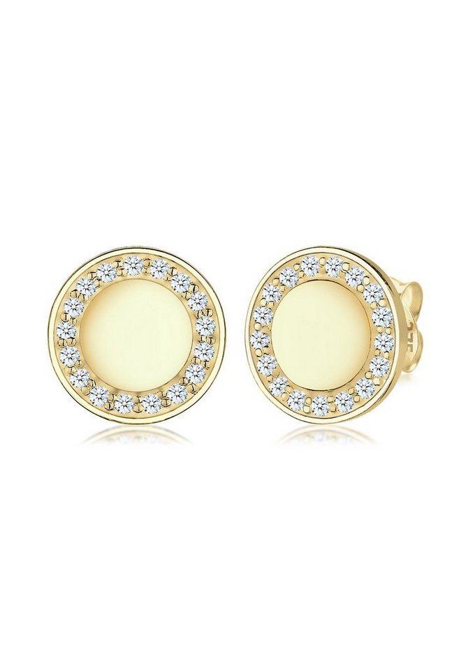 Elli Ohrringe »Kreis Elegant Klassisch Diamant 375 Gelbgold« in Gold