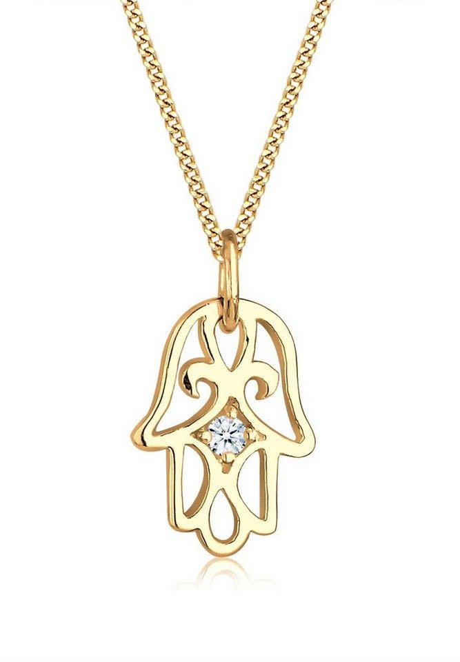 Elli Halskette »585 Gelbgold Hamsa Hand Diamant« in Weiß