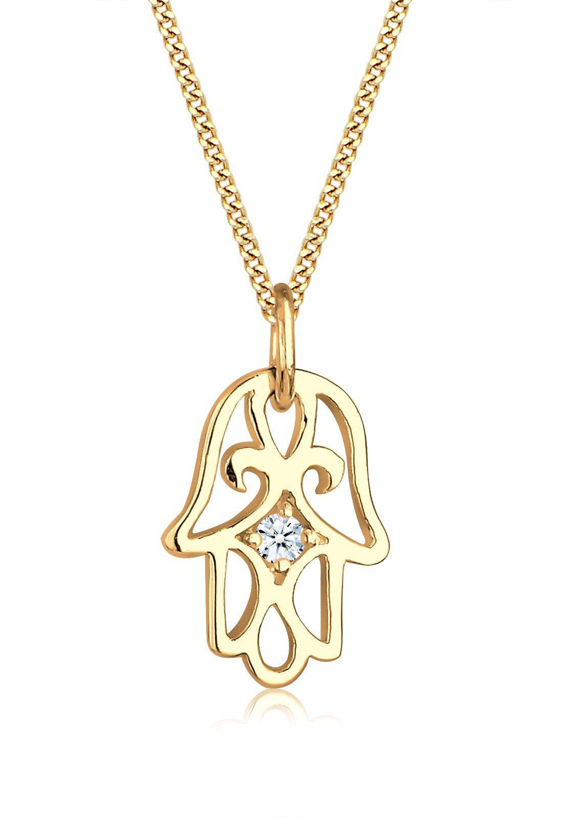 Elli Halskette »Hamsa Hand Diamant 585 Gelbgold«