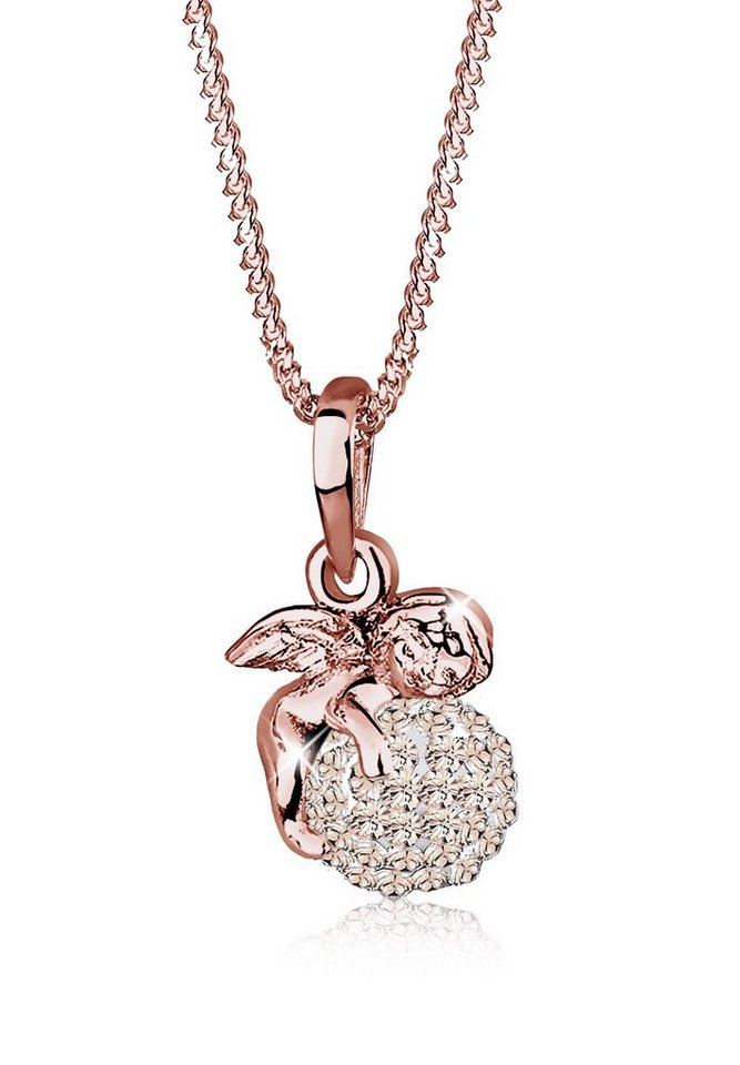 Elli Halskette »Engel Swarovski® Kristalle 925 Sterling Silber« in Rosa