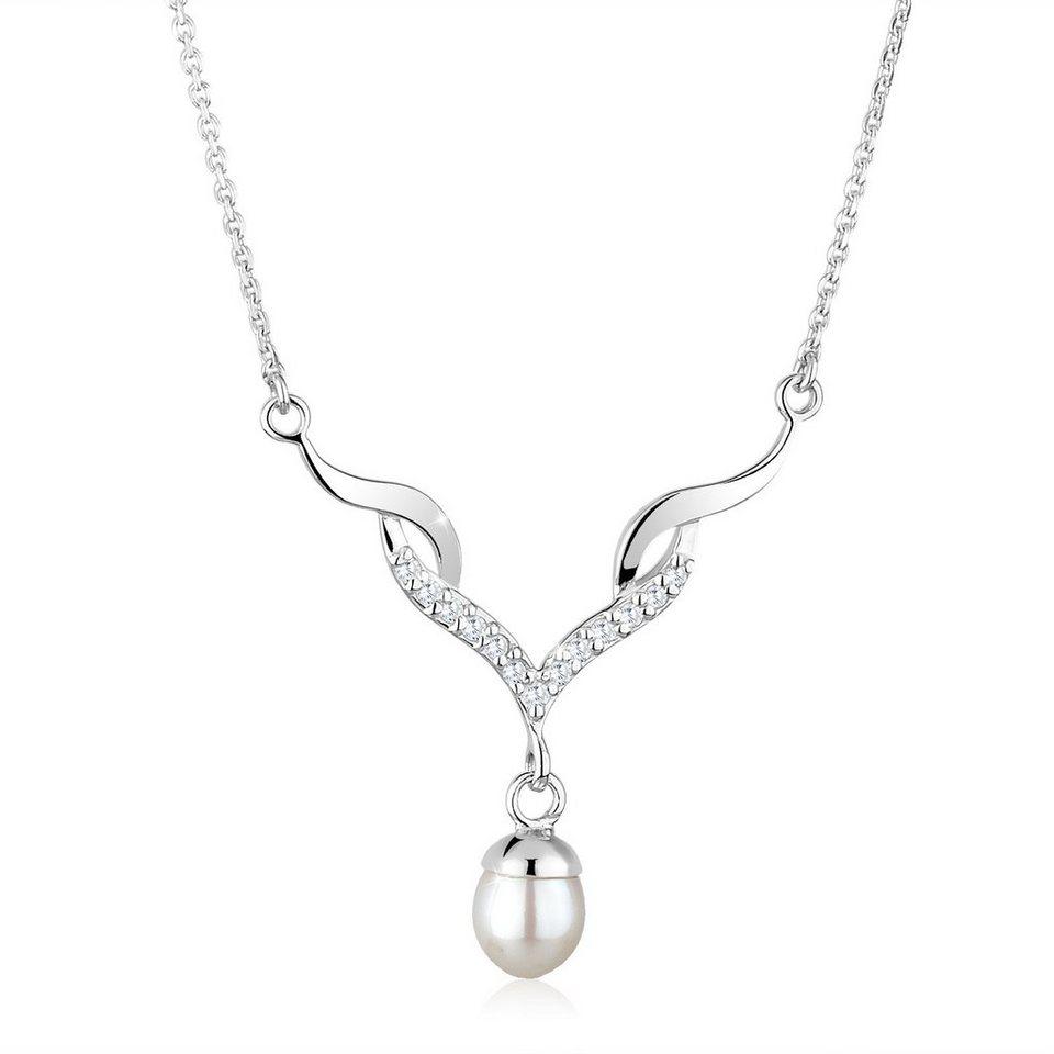 Perlu Halskette »Festlich Perle Zirkonia 925 Sterling Silber« in Weiß