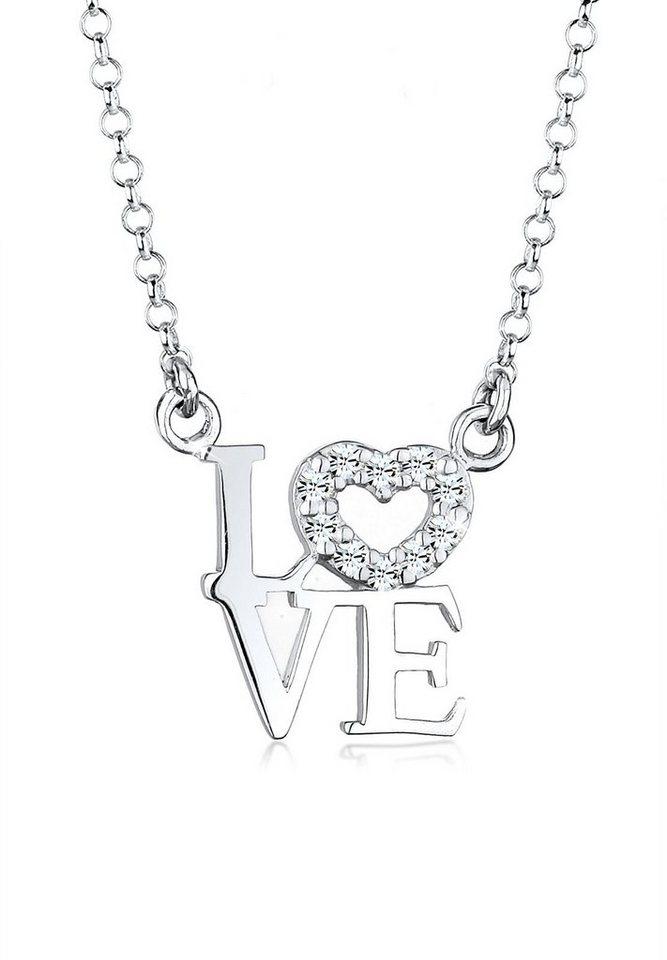 Elli Halskette »LOVE Swarovski® Kristalle 925 Sterling Silber« in Weiß