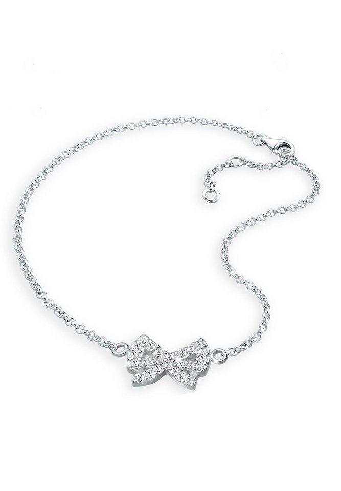 Elli Fußschmuck »Schleife Swarovski Kristalle 925 Sterling Silber« in Silber