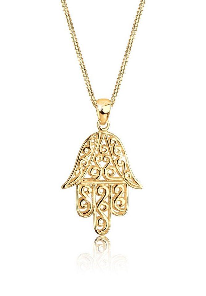 Goldhimmel Halskette »Hamsa Hand Spirituell 925 Sterling Silber« in Gold