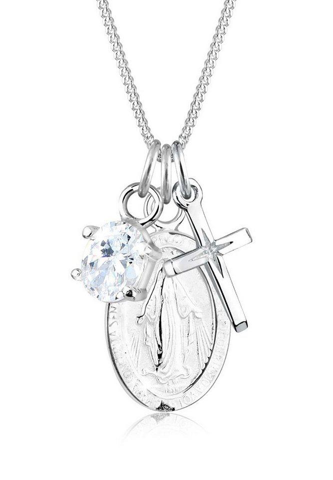 Elli Halskette »Marienbild Zirkonia Kreuz 925 Sterling Silber« in Weiß