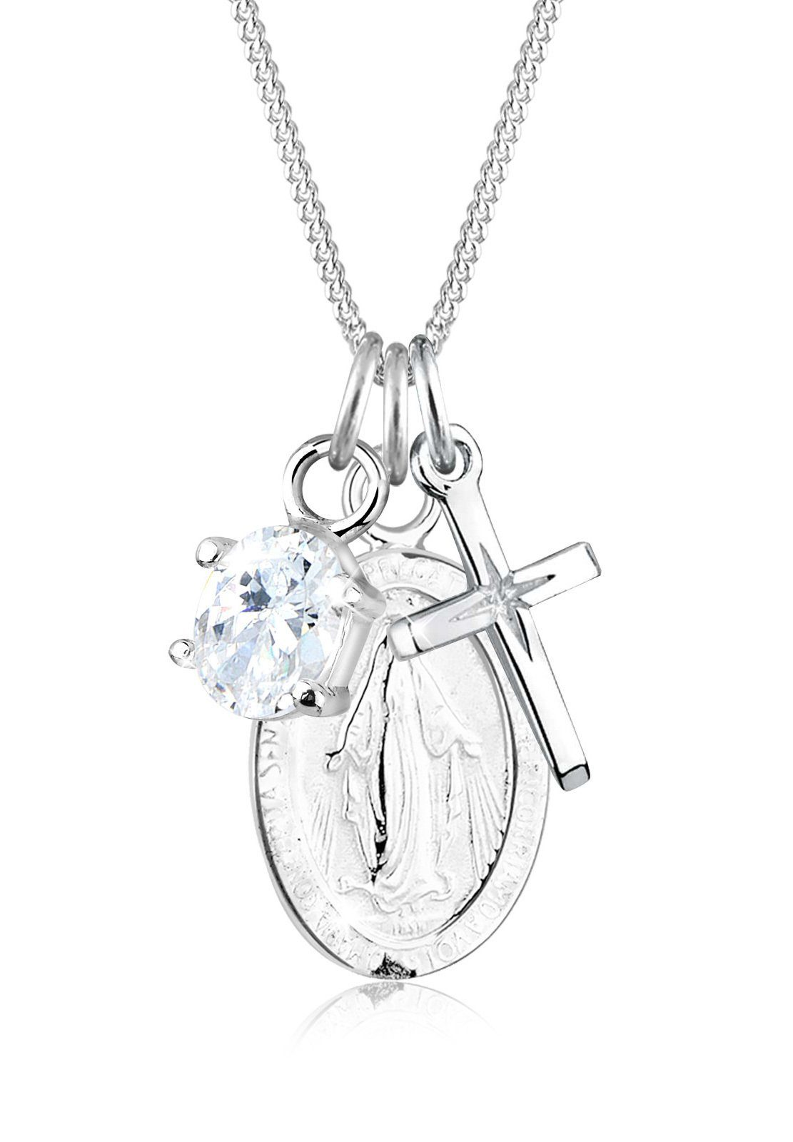 Elli Halskette »Marienbild Zirkonia Kreuz 925 Sterling Silber«