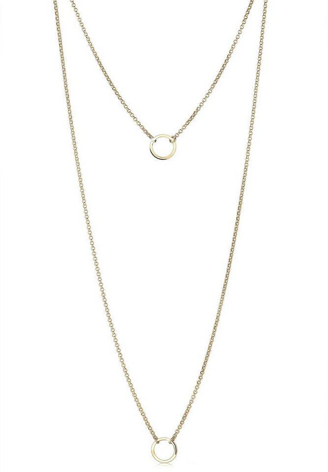 Goldhimmel Halskette »Layering Doppelkette Kreis 925 Sterling Silber« in Gold