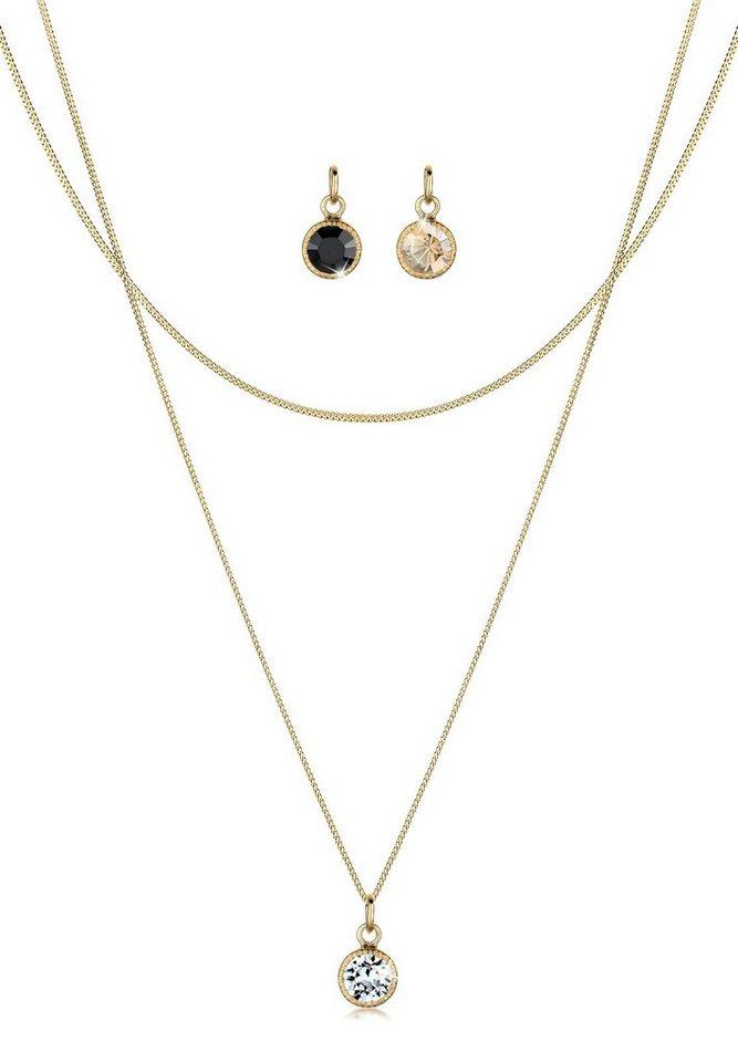 Goldhimmel Set: Halskette »Anhänger-Set Swarovski Kristalle 925 Silber« 3 tlg. in Gold