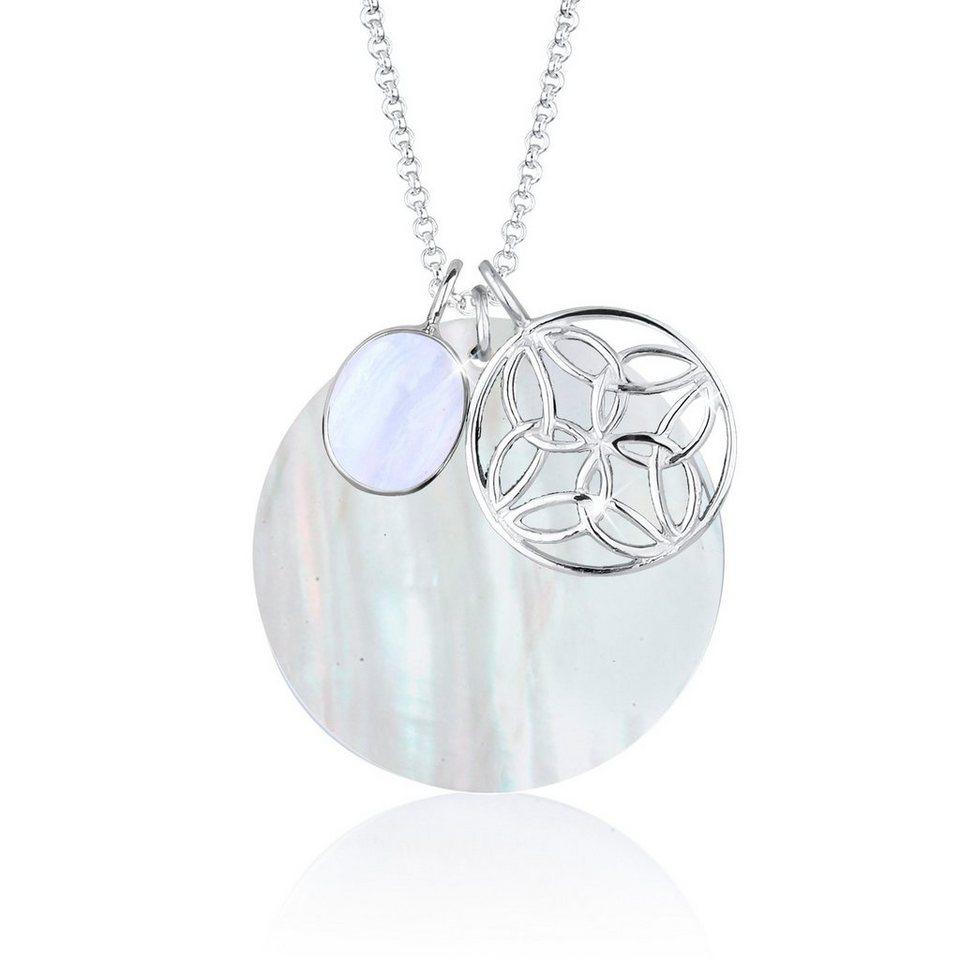 Elli Halskette »Perlmuttscheibe Ornament Edelstein 925 Silber« in Weiß