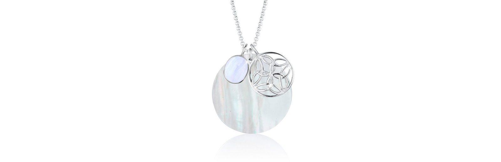Elli Halskette »Perlmuttscheibe Ornament Edelstein 925 Silber«