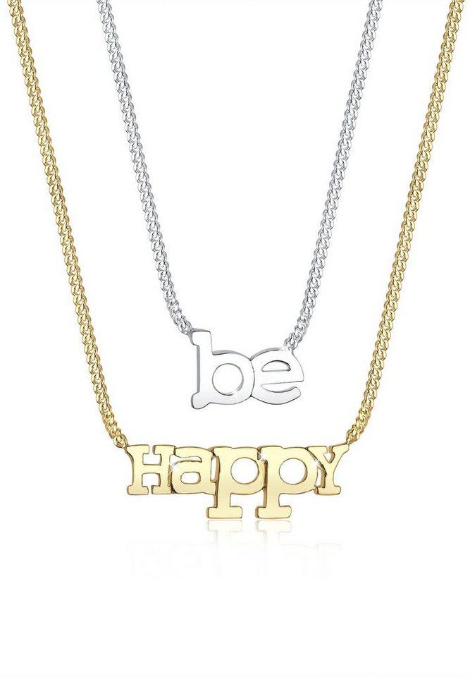 Elli Set: Halskette »BE HAPPY-Schriftzug bicolor 925 Sterling Silber« 2 tlg. in Silber