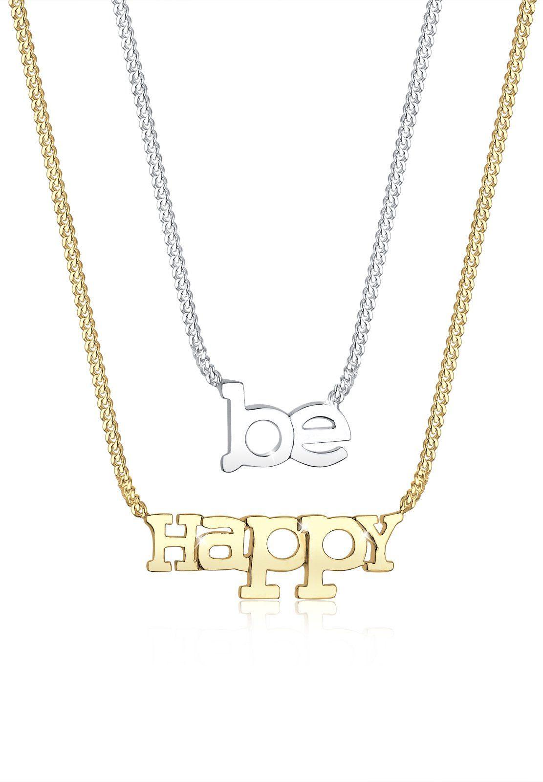 Elli Set: Halskette »BE HAPPY-Schriftzug bicolor 925 Sterling Silber« 2 tlg.