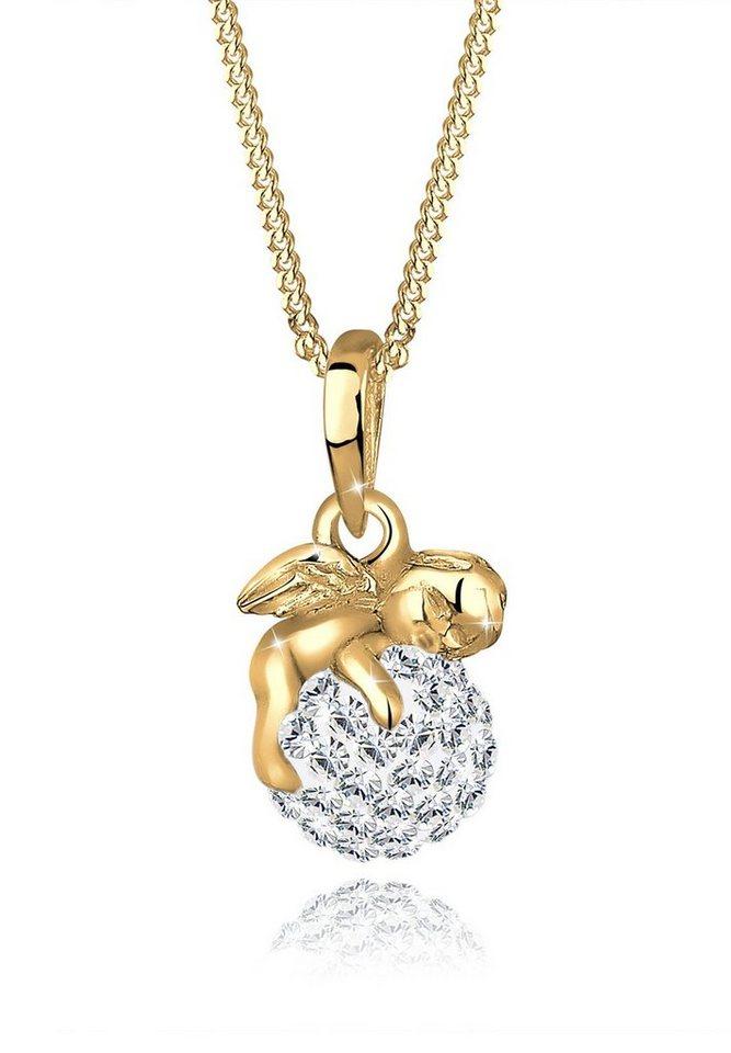 Goldhimmel Halskette »Engel Swarovski Kristalle 925 Sterling Silber« in Weiß