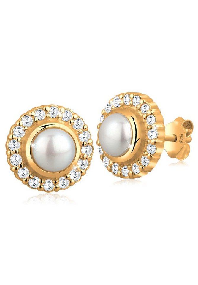 Perlu Ohrringe »Süßwasserzuchtperle Zirkonia 925 Sterling Silber« in Gold