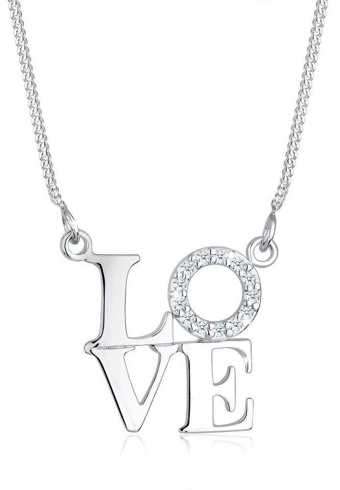 Diamore Halskette »Love Wording Diamand 925 Sterling Silber« in Silber