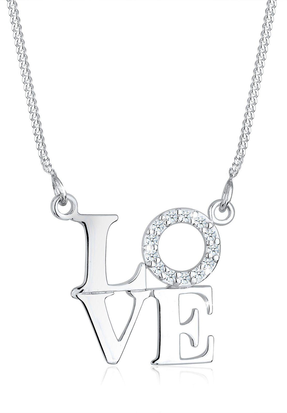 Diamore Halskette »Love Wording Diamand 925 Sterling Silber«
