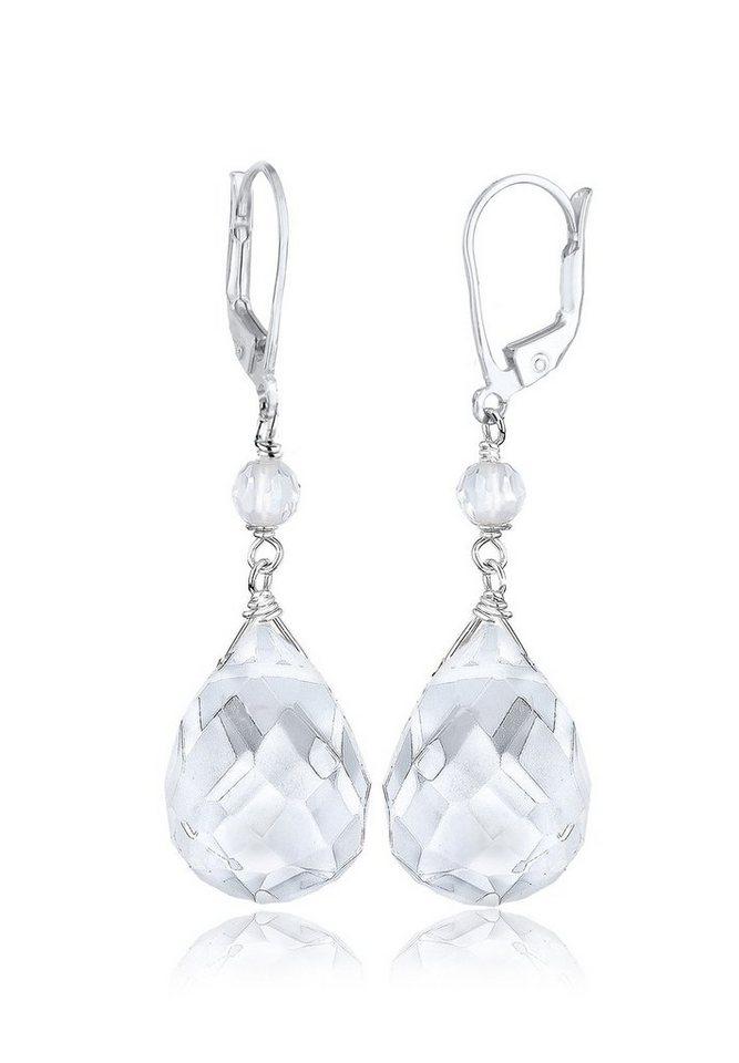 Elli Ohrringe »Tropfen Bergkristall Elegant Festlich 925 Silber« in Weiß