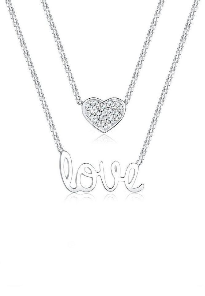 Elli Set: Halskette »Schrift Herz Swarovski® Kristalle 925 Sterling Sil« 2 tlg. in Weiß