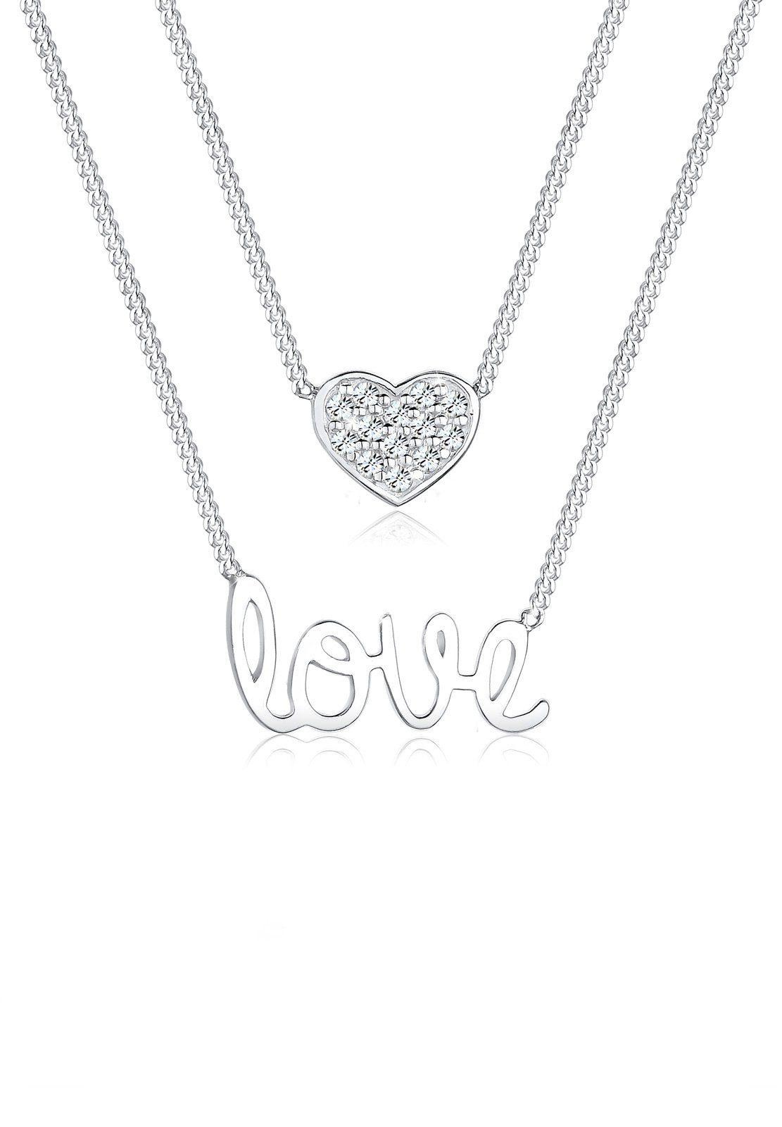 Elli Set: Halskette »Schrift Herz Swarovski® Kristalle 925 Sterling Sil« 2 tlg.