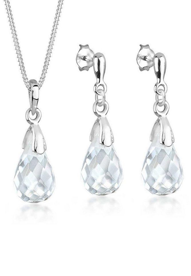 Elli Set: Schmuckset »Tropfen Bergkristall 925 Sterling Silber« 2 tlg. in Weiß