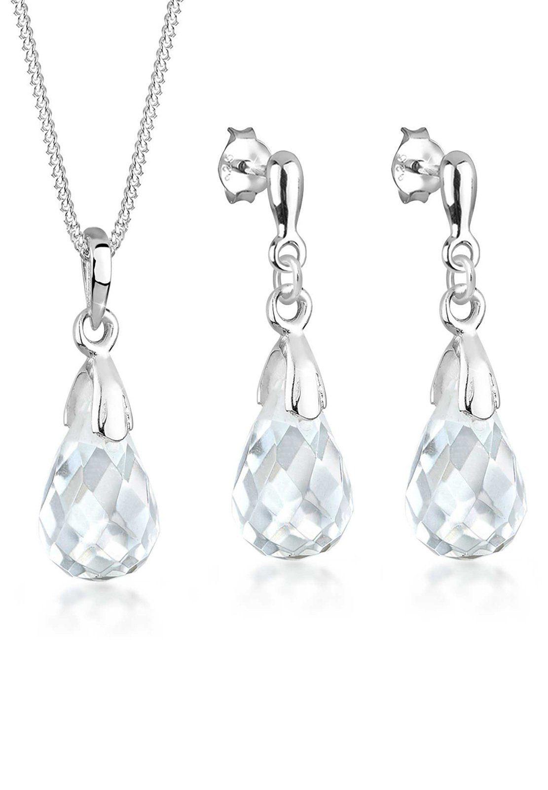 Elli Set: Schmuckset »Tropfen Bergkristall 925 Sterling Silber« 2 tlg.