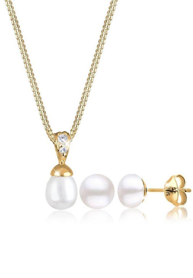 Elli Set: Schmuckset »Perlen Zirkonia 585 Gelbgold« 2 tlg. in Weiß