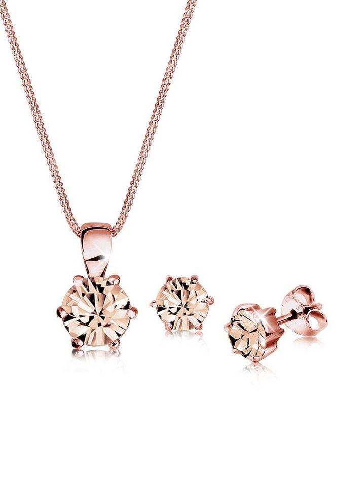 Elli Set: Schmuckset »Basic Swarovski® Kristalle Silber« 2 tlg. in Rosa