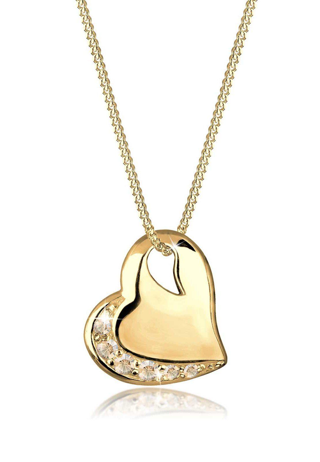 Goldhimmel Halskette »Herz Swarovski® Kristalle 925 Sterling Silber«