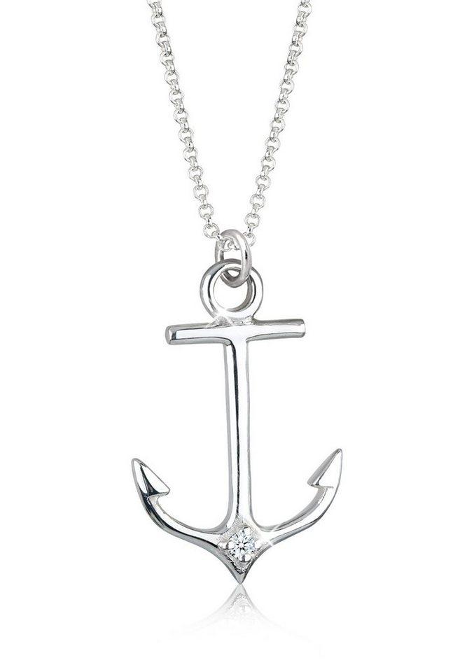 Elli Halskette »Anker Maritim Diamant 925 Sterling Silber« in Weiß
