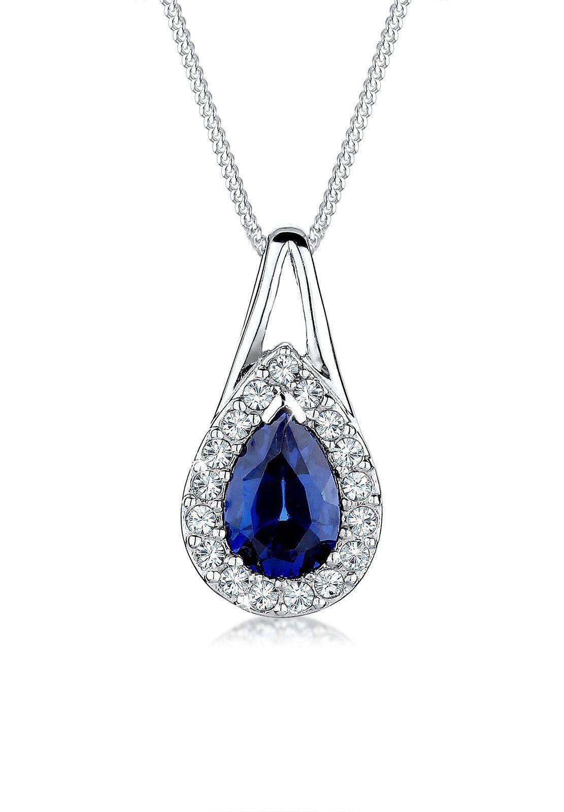 Elli Halskette »Swarovski Kristall Synthetischer Saphir 925 Silber«
