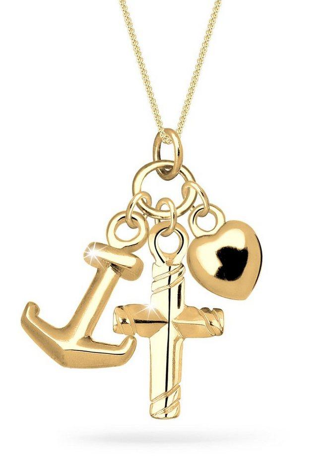 Goldhimmel Halskette »Anker Herz Kreuz Glaube Liebe Hoffnung 925 Silber« in Gold