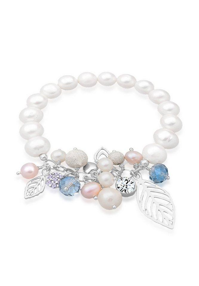 Elli Armband »Süßwasserzuchtperlen Swarovski Kristall 925 Silber« in Weiß