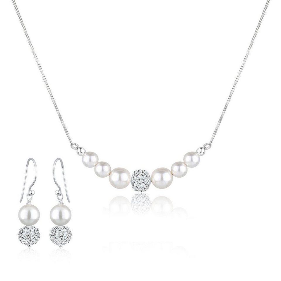 Perlu Set: Schmuckset »925 Silber Süßwasserzuchtperle Swarovski Kristalle« 2 tlg. in Weiß