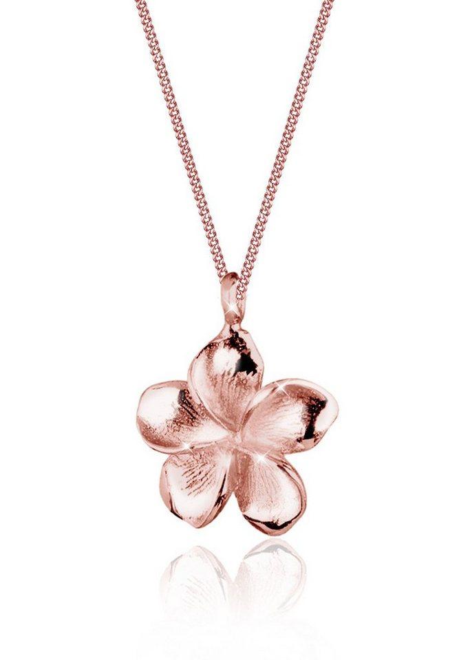 Elli Halskette »Frangipani Blüte 925 Sterling Silber« in Rosegold