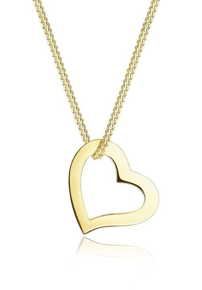 Elli Halskette »Herz Liebe 375 Gelbgold« in Gold