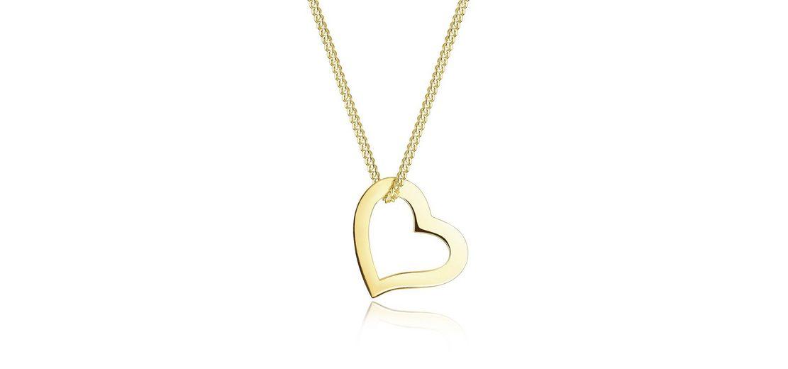 Elli Halskette »Herz Liebe 375 Gelbgold«