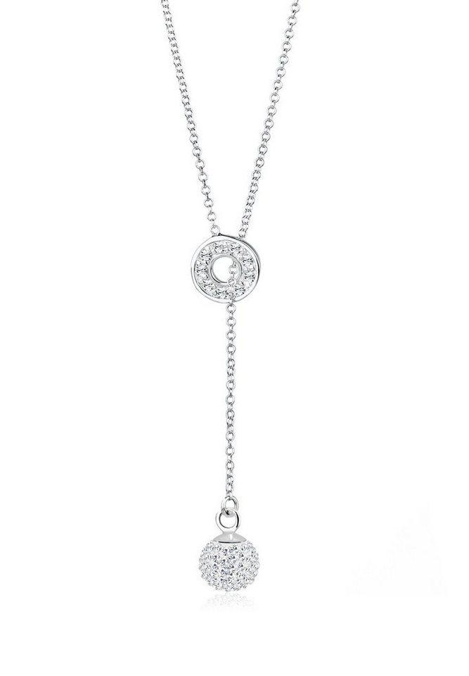 Elli Halskette »Y-Kette Swarovski® Kristalle 925 Sterling Silber« in Weiß