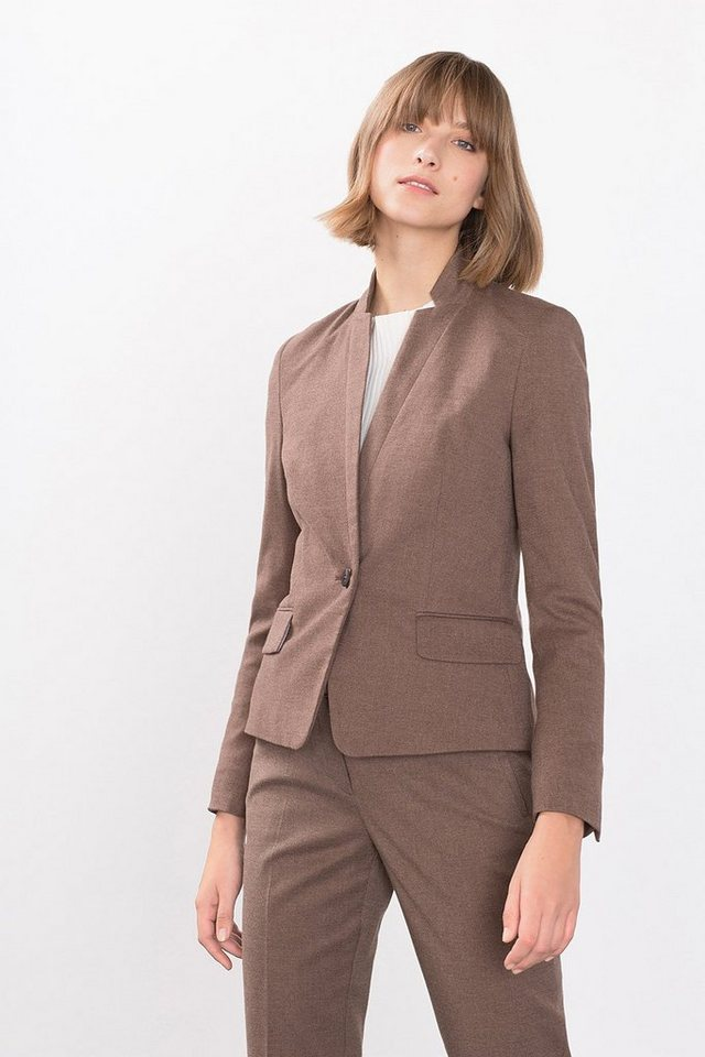 ESPRIT COLLECTION Twill Blazer mit Flanell-Touch in TAUPE