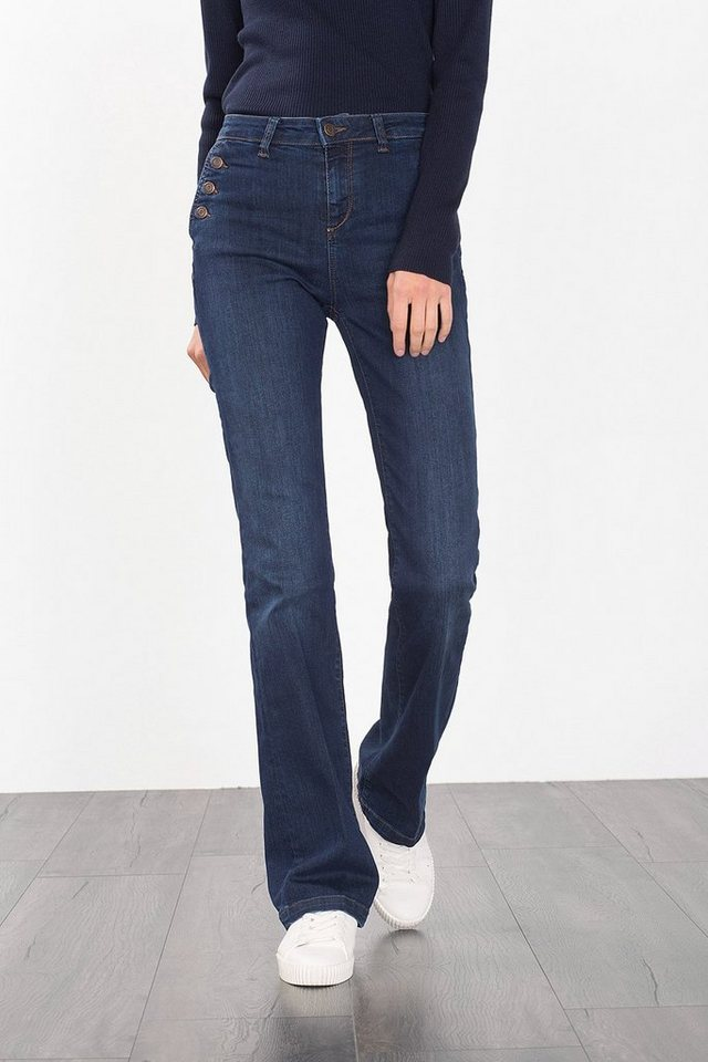 ESPRIT CASUAL High-Waist-Denim im Bootcut-Stil in BLUE DARK WASHED