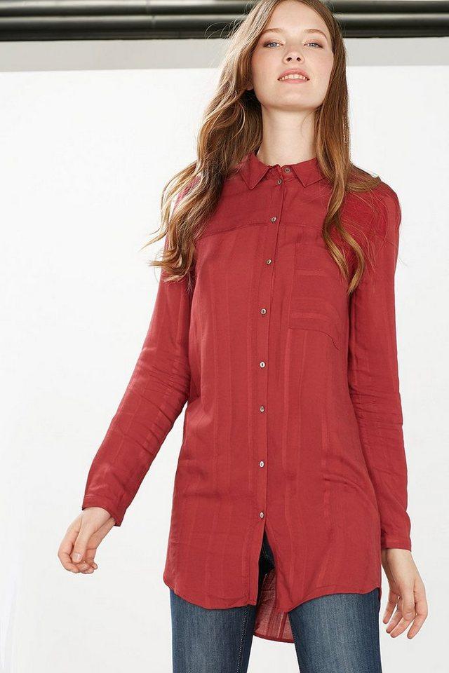 EDC Fließende Long-Bluse mit Streifen in GARNET RED