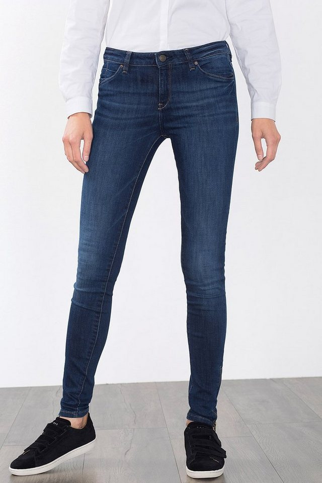 ESPRIT CASUAL Skinny-Jeans mit Saumzippern in BLUE MEDIUM WASHED